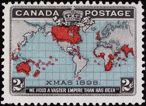 Timbre_penny_post_Canada_1898Christmas 1898 British Empire Christmas stamp of Canada.