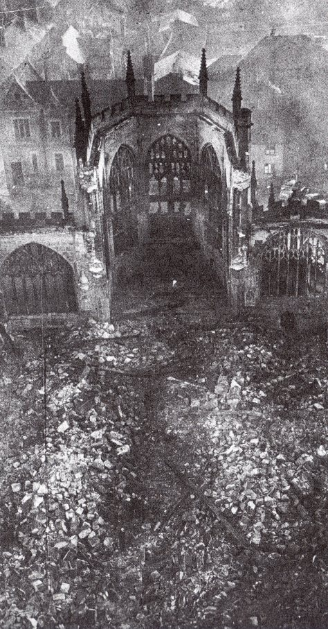 Coventry_Cathedral_after_the_air_raid_in_1940The ruined nave and chancel of Coventry Cathedral, England, seen from the west tower. It is in ruins after the German air raid of November 19