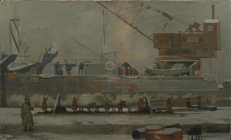 Leith, Midlothian, Scotland_Art_IWMART1364 January 1917 First World War One A group of women at work painting the hull of a Royal Navy Motor Launch with anti-fouling paint.