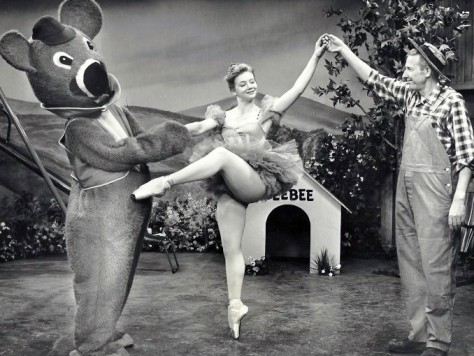 Photo of Cosmo Allegretti (Dancing Bear), Roberta Lubell and Hugh Lumpy Brannum (Mr. Green Jeans) from the television program Captain Kangaroo. American TV Show 20th September 1960