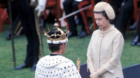 Prince Charles being invested by his mother, Queen Elizabeth ll. 3rd July 1969