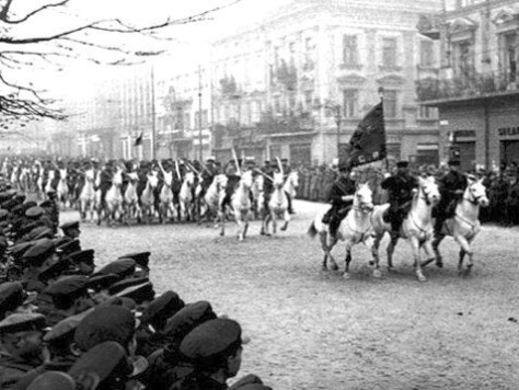 Soviet cavalry on parade in Lviv, after the city's surrender to the Red Army during 1939 Soviet invasion of Poland The city, then known as Lwów, was annexed by the Soviet Union and toda