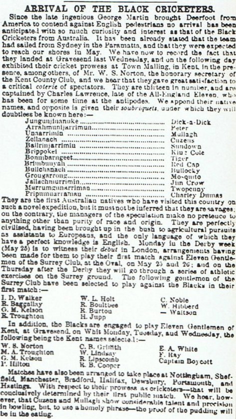 Sporting_Life,_London__16May1868The Sporting Life, London. 16 May 1868. The arrival of the Australian Aboriginal cricket team in England.