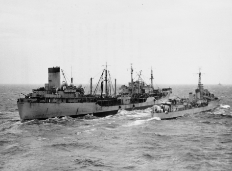 USS_Manatee_(AO-58)_HMAS_Warramunga_(I44)27th June 1951 A United States Navy fleet oiler (left) refuels a Royal Australian Navy destroyer (right) off the Korean Peninsula during the Kore