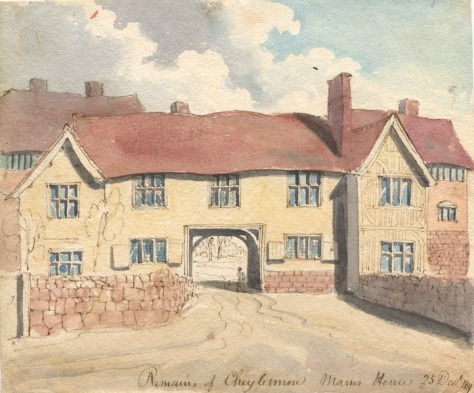 Brooke_RemainsCheylesmore_HAGAM_tifThe manor house of Cheylesmore, England in a watercolour and ink painting by William Henry Brooke. dated the 25th of December, 1820.