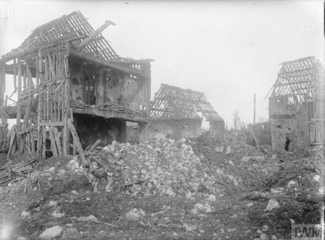 Ruins in the village of Puisieux, Pas-de-Calais, France. March 1917. First World War. The British entered the region on the 28th of February. World War One. By War Photographer Ernest Br