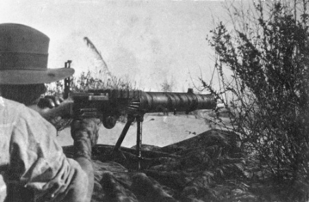 Australian_Lewis_gunner_MagdhabaAustralian War Memorial image P00812.011. An Australian soldier firing a Lewis Gun during the Battle of Magdhaba 23rd December 1916 First World War One