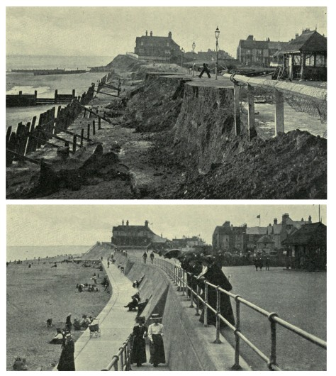 Hornsea_seafront_1906_after_storm_and_1910_after_construction_of_sea_wall Hornsea seafront 1906 after storm and 1910 after construction of sea wall 1912 book. the East Riding of Yorkshir