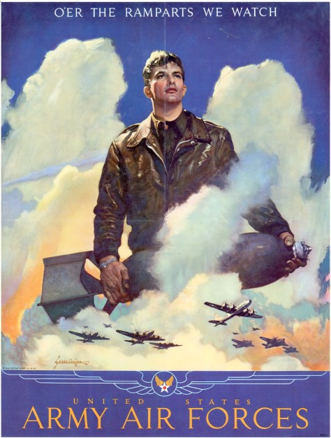 Oer_the_ramparts_we_watch WW2 U.S. propaganda poster. Title O'er the ramparts we watch United States Army Air Forces. Size 63 × 48 cm (24.8 × 18.8 in). Signed and dated bottom left Sc