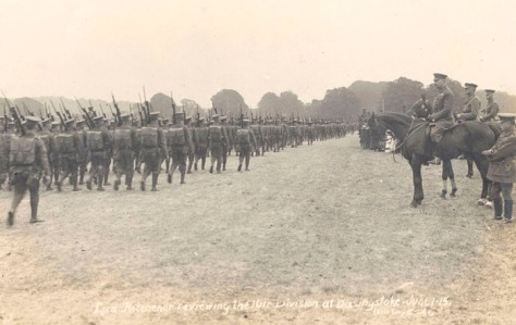 Field Marshal Lord Kitchener reviewing 10th (Irish) Division at Basingstoke 1st June 1915. End of June received orders to depart from Hampshire for Gallipoli. First World War One.
