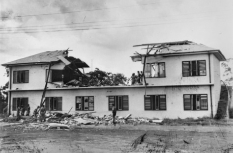 Damaged_house_(Darwin)A house in Darwin damaged in a Japaneses Air Raid. Northern Territory, Australia. Second World War Two. Bombing of Darwin.