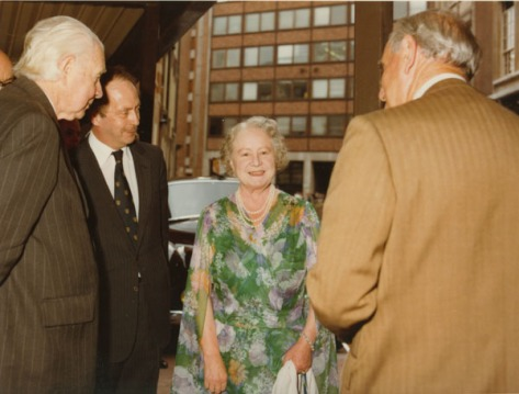 HM Queen Mother at the formal opening of the new library in the Lionel Robbins Building, 10th July 1979 London British Royals England Britain Vintage