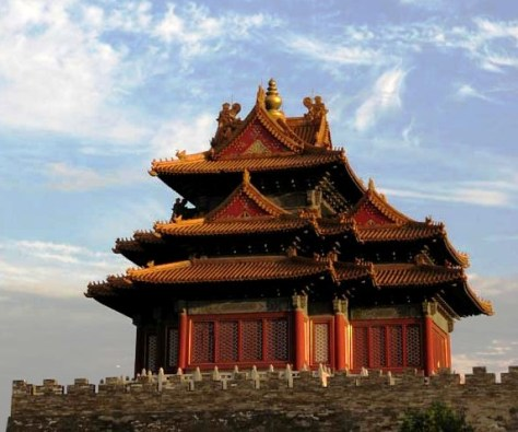 One of the corner towers of the Forbidden City, which was built by Emperor Yongle in Ming dynasty.BeijingWatchTower China