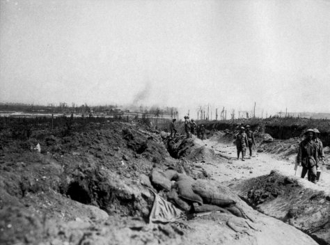 Road_to_Pozieres_August_1916_(AWM_EZ0084)Somme battlefield road to Pozières 1 August 1916. View north the village of Contalmaison shelled by the Germans. Australian troops I Anzac Corps
