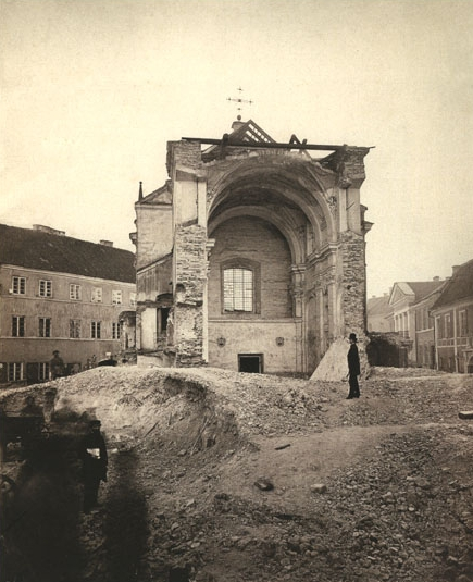 St_Joseph_Church_demolitionSt. Joseph the Betrothed Church in Vilnius being demolished by the tsarist authorities in 1877 to enforce Russification policies. Lithuania Russia cultural gen