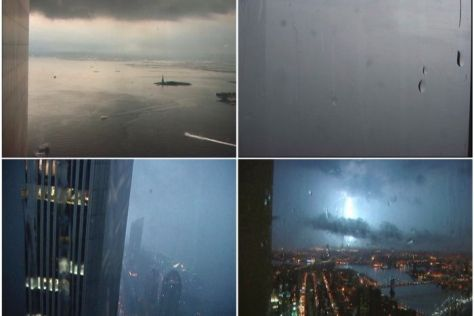 Still images taken from footage filmed on the 92nd floor of the World Trade Center's Tower One during a storm on the evening of September 10, 2001. By Monika Bravo Terrorism Islamic Extr