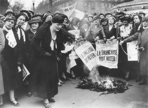 Suffragettes in France demonstrate in May of 1935. French women didn't win the vote until the mid-1940s. Louise Weiss along with other suffragettes in 1935. The bold text on the newspape