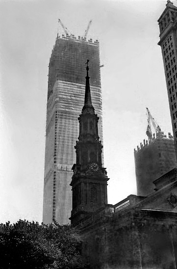 WTC-1971-under-construction World Trade Center during construction New York 1st May 1971
