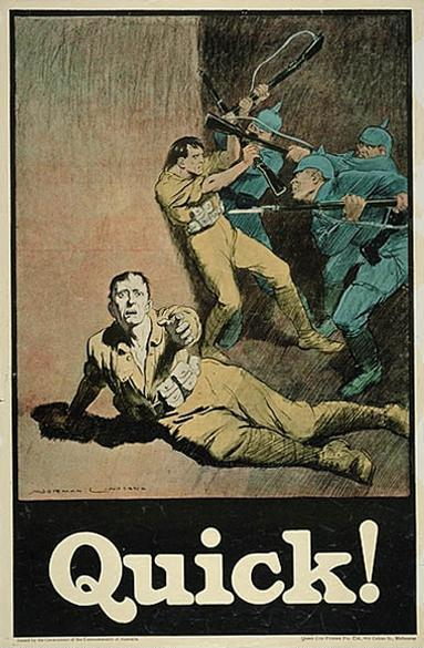 A First World War One Australian propaganda poster by Norman Lindsay. Lindsay_quick