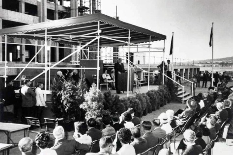 Sir Robert Menzies speaking at the laying of the National Library of Australia_s foundation stone on 31 March 1966. National Library of Australia, nla.obj-136760449 Canberr