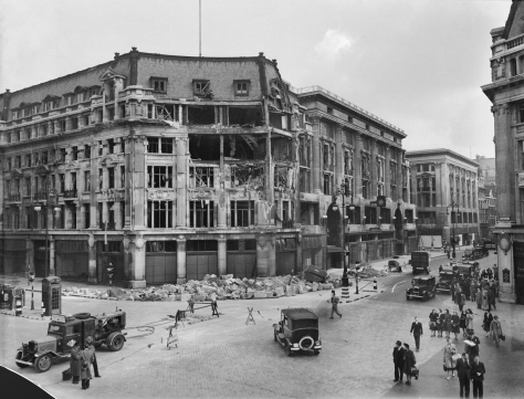 The damaged Peter Robinson department store at Oxford Circus, following a German air raid on London, September 1940. Second World War Two
