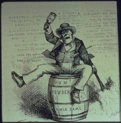 This anti-Irish propaganda image was published in American magazine in Harper's Weekly on the 2nd of September, 1871. Created by famed German-born caricaturist Thomas Nast