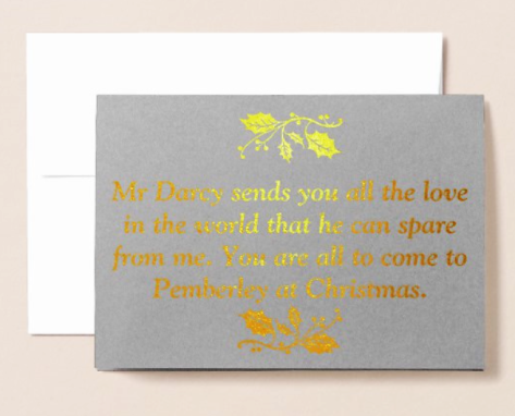 Mr Darcy Pride and Prejudice Jane Austen Foil Christmas Card Sonya Heaney In the Past Zazzle Shop Gold Version 2