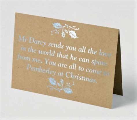 Mr Darcy Pride and Prejudice Jane Austen Foil Christmas Card Sonya Heaney In the Past Zazzle Shop Silver Version 2