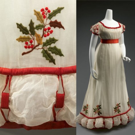 Day 21 of #Advent and one of my favourite Christmas dresses worth sharing each year, a mid #1820s white muslin dress embroidered with boughs of holly, the hem caught in festive swags of