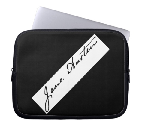 Jane Austen Signature Laptop Sleeve Zazzle Store Shop In Times Gone By Sonya Heaney Writers Book Gifts.png