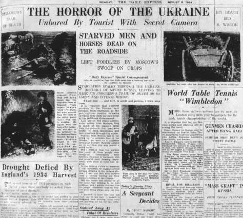 6_aug_top_daily_express_Holodomor_Genocide The Daily Express Monday 6th August 1934 STalin Russia's genocide in Ukraine communism