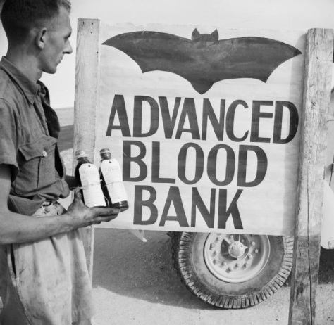 A 'Vampire' sign outside an Army Blood Transfusion Service advanced blood bank in the Western Desert, 29 October 1942