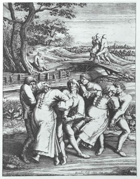 Die_Wallfahrt_der_Fallsuechtigen_nach_MeulebeeckEngraving of Hendrik Hondius portrays three women affected by the dancing plague