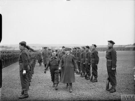 May 1940 General Maurice Gamelin, Commander in Chief of the French Army, reviews Canadian troops at Aldershot, England shortly before the Dunkirk evacuation. Second world War Two