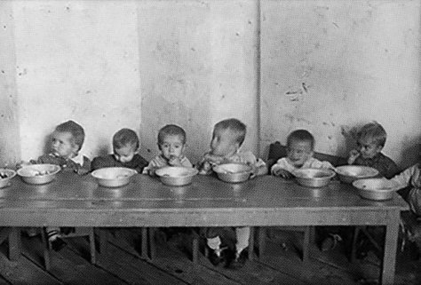 These aren't children in a Nazi concentration camp they're Soviet children in communist gulags during Stalin's reign. D0-MimeWwAIrLf1