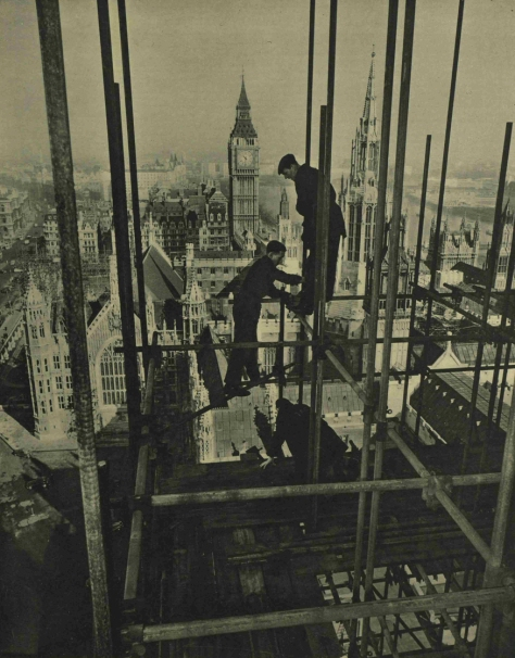 workers removing the scaffolding from the Victoria Tower Westminster London in 1954. the Illustrated London News, 20 March 1954.