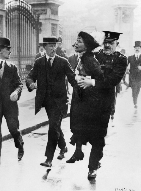 Mrs Emmeline Pankhurst, Leader of the Women's Suffragette movement, is arrested outside Buckingham Palace while trying to present a petition to King George V in May 1914. 21 May 1914