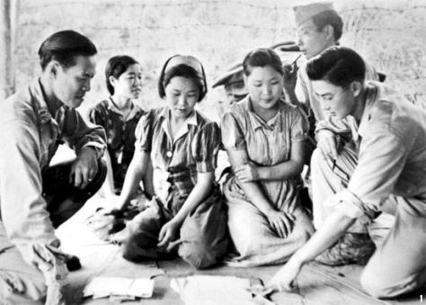 Captured_comfort_women_in_Myitkyina_on_August_14_in_1944 Comfort Women - women forced to work as sex slaves for the Empire of Japan - after being freed by US soldiers. 14th August 1944. X